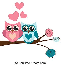 Cute Owl Pattern Background for Valentines Day with Hearts and Place for Your Text Vector Illustration