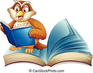 Cute owl reading a book