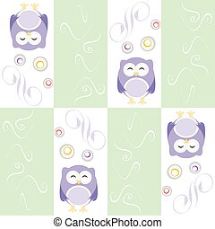 Cute owl seamless background vector background