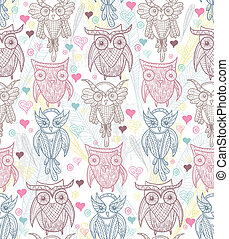 Cute owl seamless pattern.