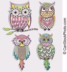 cute owl set - Set of cute colorful owls