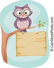Cute Owl Signage Tree