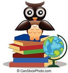 Cute owl sitting on books.