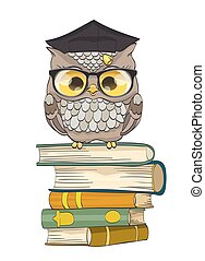Cute owl sitting on books with graduation cap. vector illustration