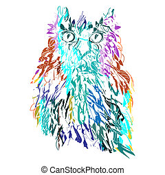 Cute Owl, symbol of Halloween, vector illustration. Illustration for t-shirt.