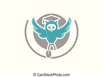 Cute owl teacher logo
