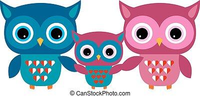 Cute Owl Vector Family with Heart