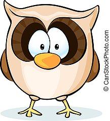 cute owl vector - isolated on white