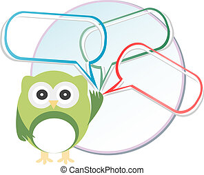 Cute owl with abstract speech bubbles