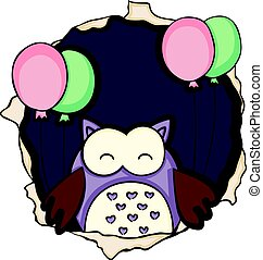 Cute owl with balloons on the hole