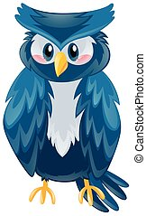 Cute owl with blue feather