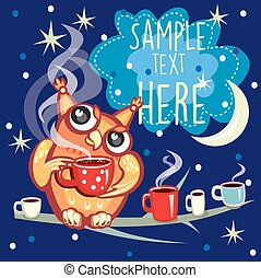 Cute Owl with cup of coffee