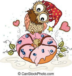 Cute owl with little bird in the middle of pink donut