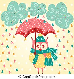 Cute owl with umbrella in the rain
