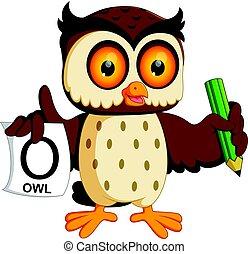 cute owl writing
