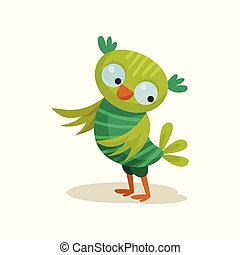 Cute owlet, sweet colorful owl bird cartoon character vector Illustration on a white background