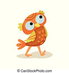 Cute owlet walking, sweet orange owl bird cartoon character vector Illustration on a white background