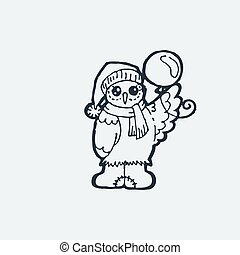 Cute owlet with balloon. Cartoon hand drawn vector illustration