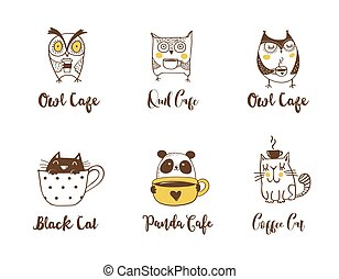 Cute owls, cat and panda drinking coffee. Hand drawn symbols, icons, illustrations