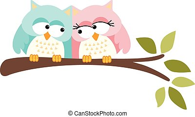 Cute owls couple - Scalable vectorial image representing a...