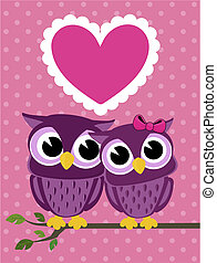 cute owls couple with love heart, in vector format very easy...