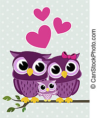 cute owls family - cute owls couple with baby owl sitting on...