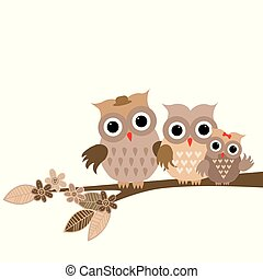 Cute owls family on white background