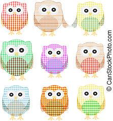 owls icon set isolated on white