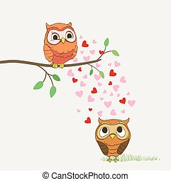 cute owls in love cartoon illustration. vector