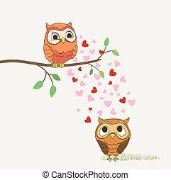 cute owls in love cartoon illustration. vector