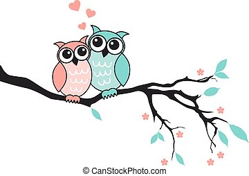 Cute owls in love, vector