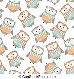Cute owls in the winter clothes seamless pattern