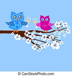 Cute owls on branch in flowers