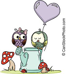 Cute owls on love watering can