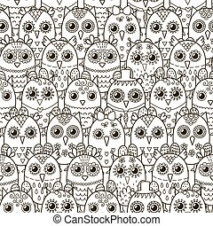 Cute owls seamless pattern. Black and white background