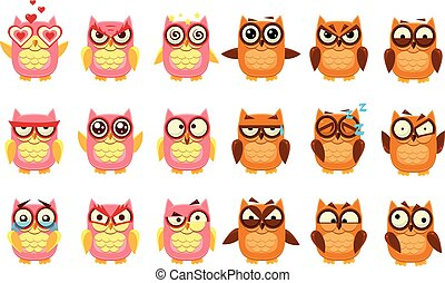 Cute owls set, funny owlets with various emotions vector Illustration