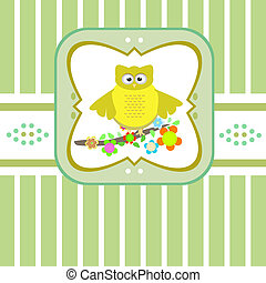 Cute owls sitting on flower branch tree. Vector card
