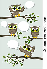 cute owls social network vector