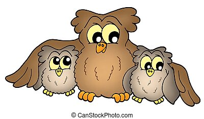 Cute owls - Three cute brown owls - color illustration.