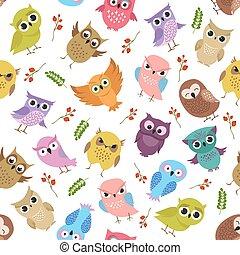 Cute owls vector seamless pattern
