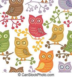 Cute owls. Vector seamless pattern.