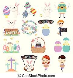 cute, páscoa, clip, artes, ilustração