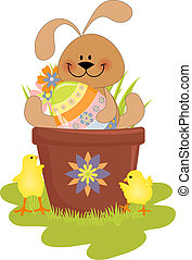 cute, páscoa, ilustração, com, coelho