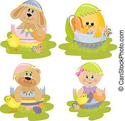 cute, páscoa, ilustração