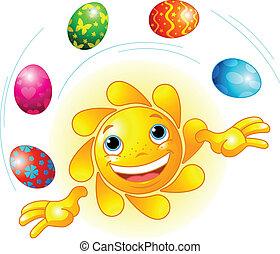 cute, páscoa, sol, juggling