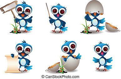 cute, pássaro azul, família, caricatura, jogo