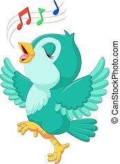 cute, pássaro, cantando