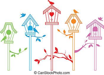 cute, pássaro, casas, vetorial