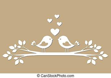 cute, pássaros, com, corações, corte, de, papel