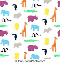 cute, padrão animal, seamless, jardim zoológico, silhuetas, vector., toddler